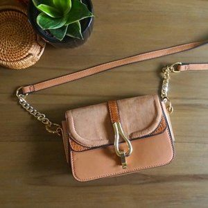Topshop crossbody camel mini bag with gold accents